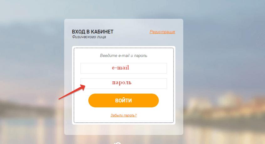Ввод пароля для входа в кабинет БашРТС